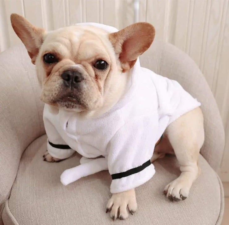 Pet Lifestyle - Luxury White Embroidered Terry Cloth Hooded Dog Bathrobe