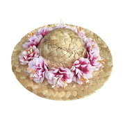 Pet Lifestyle - Pet Straw Hat With Flowers With Adjustable Band