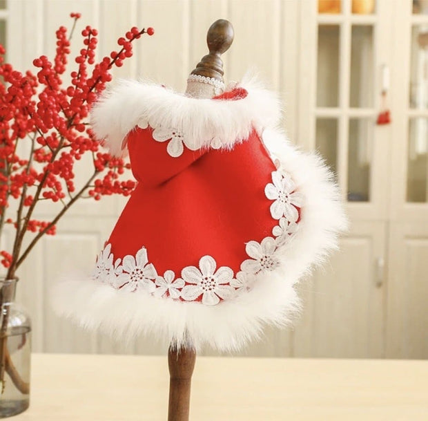 Pet Lifestyle - Winter Red Hooded Pet Cape With White Faux Fur Trim