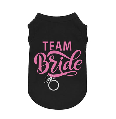 "Pet Shirts - Cute Black Wedding Pet Shirt ""Team Bride"""