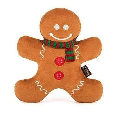 Pet Toys - Holiday Classic - Holly Jolly Gingerbread Man Plush Dog Toy