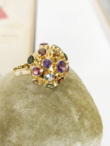 Vintage sputnik multi stone gold ring