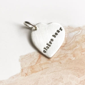 Handmade stamped heart charm