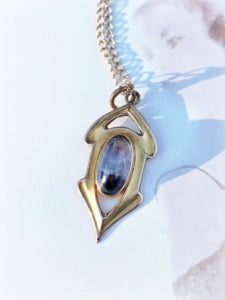 Art Deco 1920's 14k gold and amethyst charm necklace.