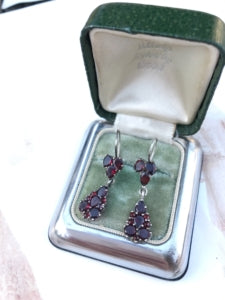 Antique 1930's silver and garnet earrings