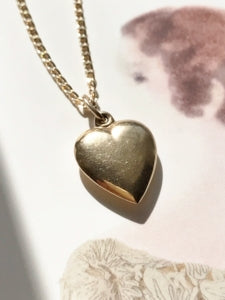 Vintage 14k gold puffy heart charm necklace