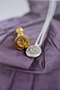 Handmade rose wax seal necklace