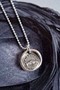 Friendship clasped hands wax seal charm necklace
