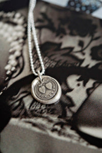 Two hearts together forever wax seal necklace
