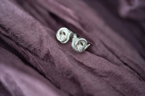 silver snake stud earrings fertility jewelry