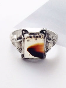 Vintage agate and sterling silver ring