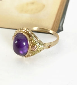 Antique amethyst and gold ring