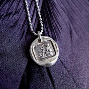 Handmade anchor wax seal necklace