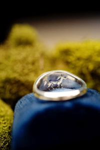 Custom divorce ring with intaglio horse and north star