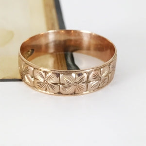 rose gold Victorian dogwood ring