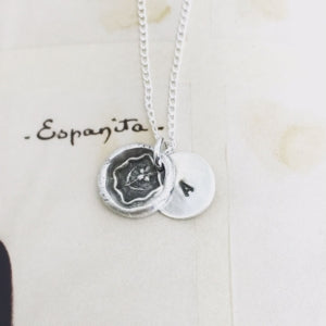 Forget-me-not custom wax seal necklace