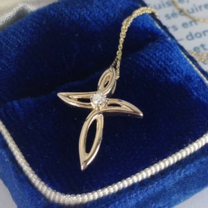 Gold diamond cross necklace