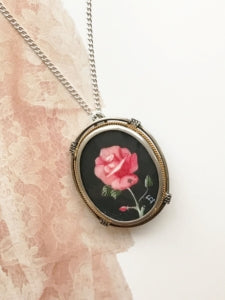 Vintage 800 silver hand painted rose necklace