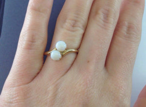 two opal gold ring