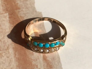 antique 15k gold pearl and turquoise 1870 ring.