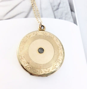 gold filled locket with rhinestone