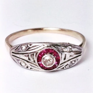 Antique ruby, diamond and gold ring