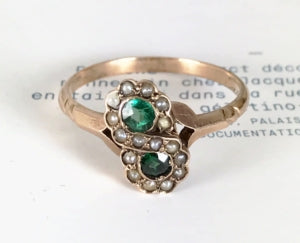 Antique rose gold toi et moi emerald and seed pearl infinity ring