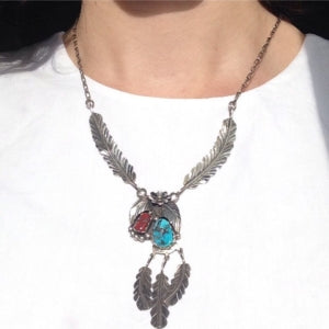 Vintage coral and turquoise feather necklace