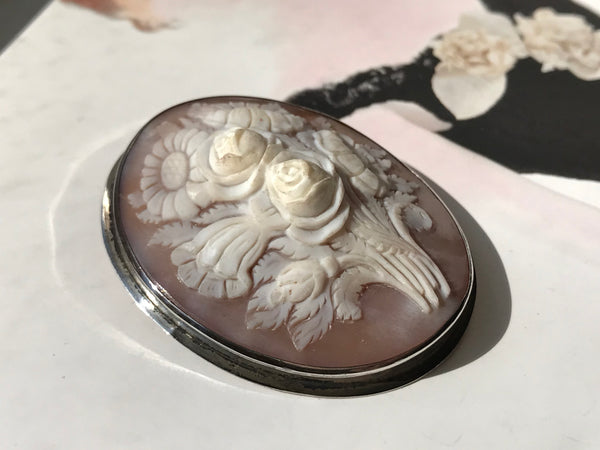 Antique Flower Cameo