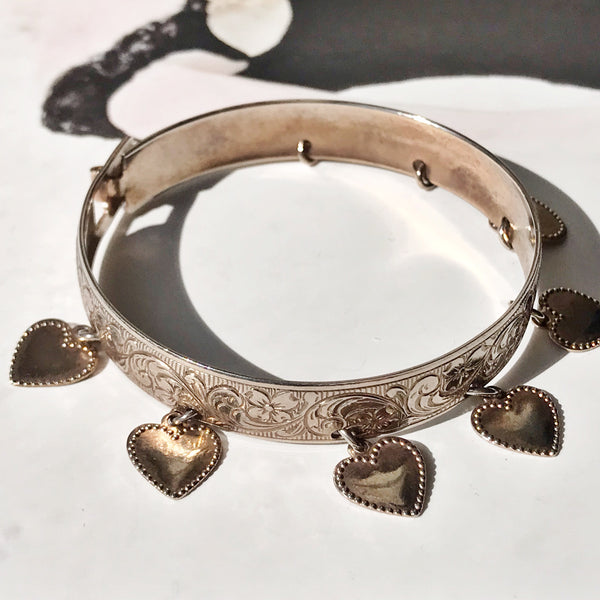 Dogwood Flower and Hearts Baby Bangle