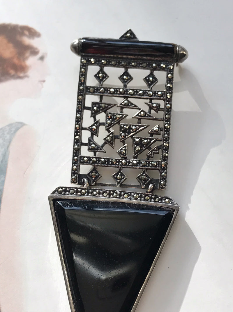 Onyx and Marcasite Geometric Brooch