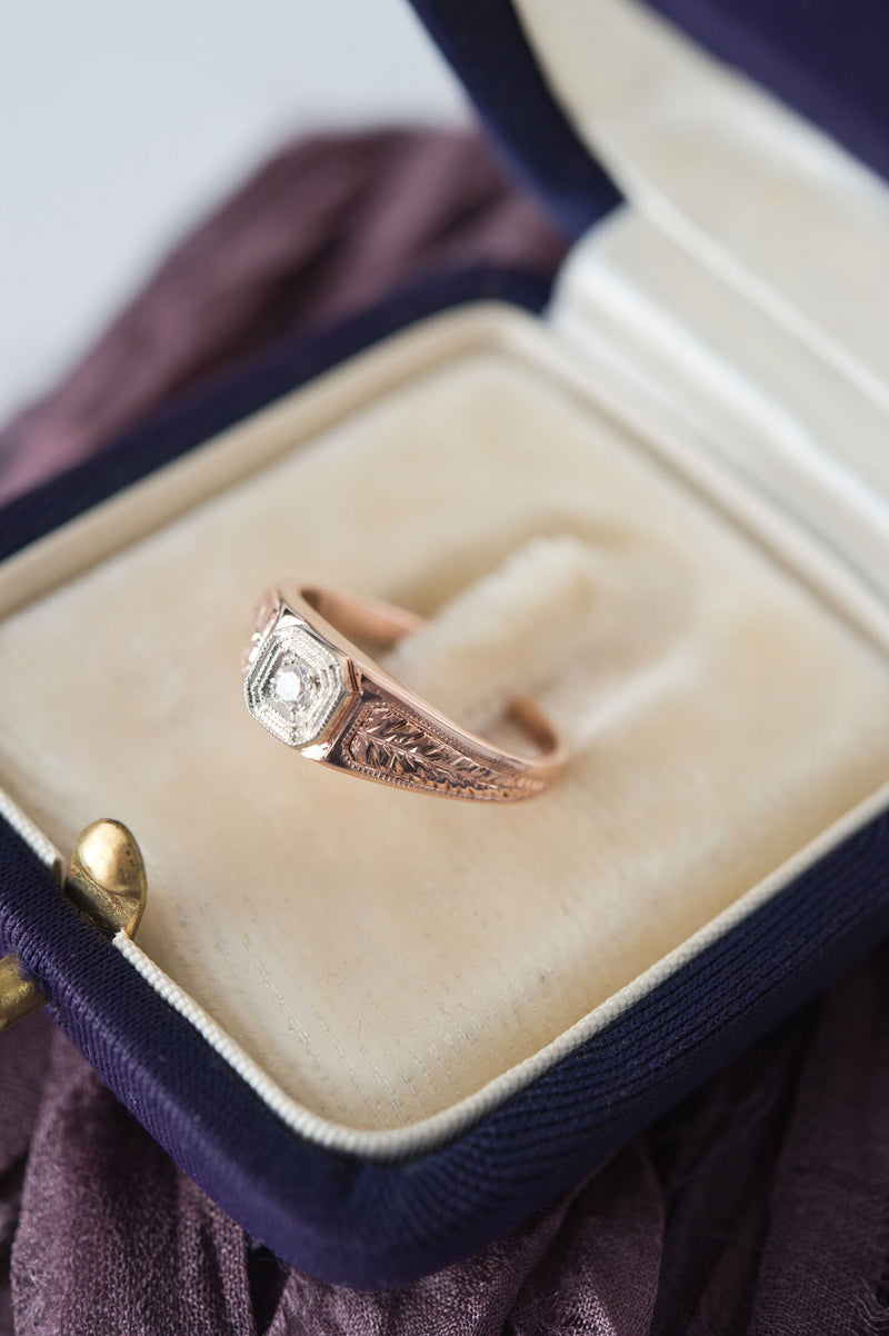 Rose gold diamond leaf engagement ring | antique style 18k rose & white gold | square alternative earthy Victorian engagement ring