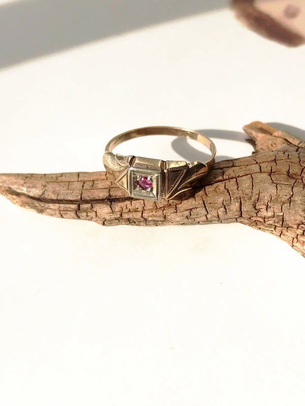 1920's Simulated Ruby Baby Ring