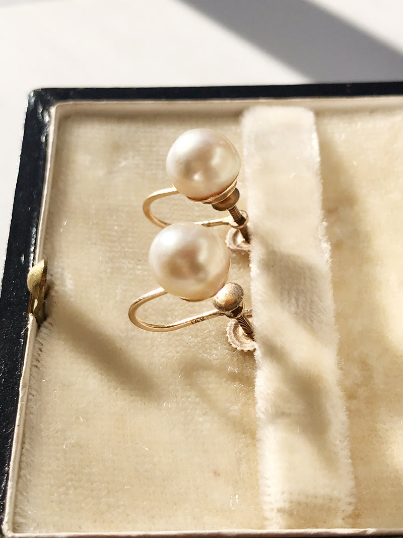 Retro Pearl Screw Back Earrings
