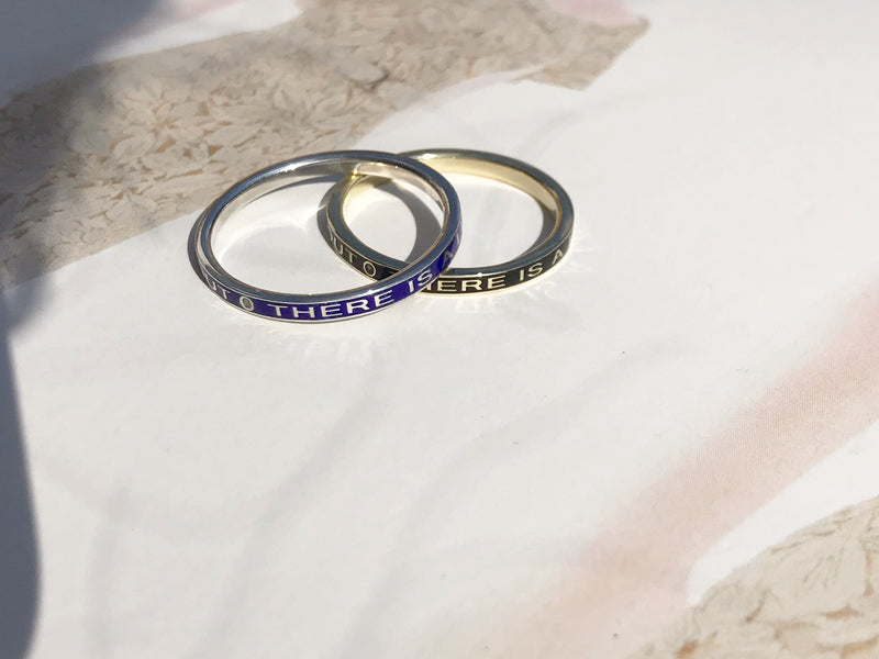 Modern mourning remembrance enamel ring | there is a light that never goes out ring | custom ring made in Philadelphia, PA