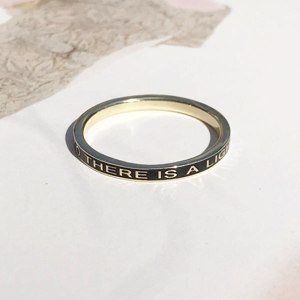 Gold There is a Light that Never Goes Out Remembrance Ring in Custom Color Enamel