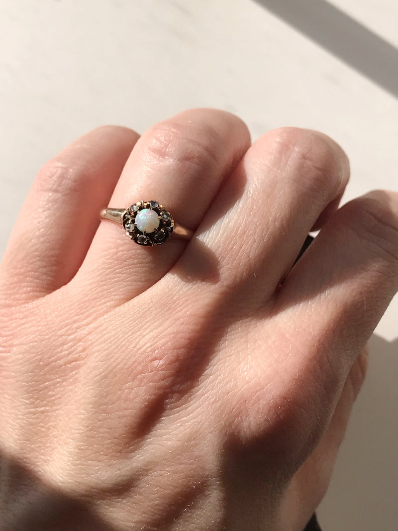 Edwardian Opal and Rose Cut Diamond Halo Ring