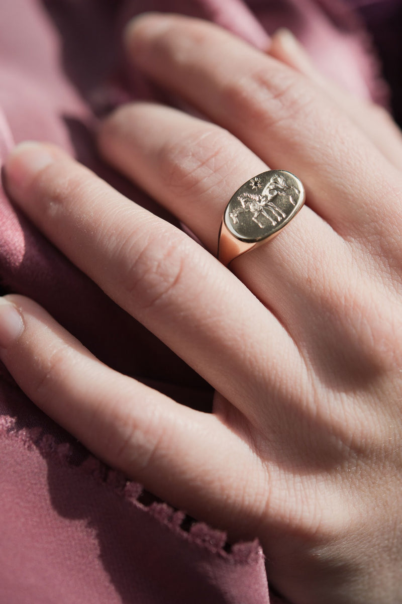 Custom Horse Signet Antique Style Ring near Philadelphia, Pennsylvania