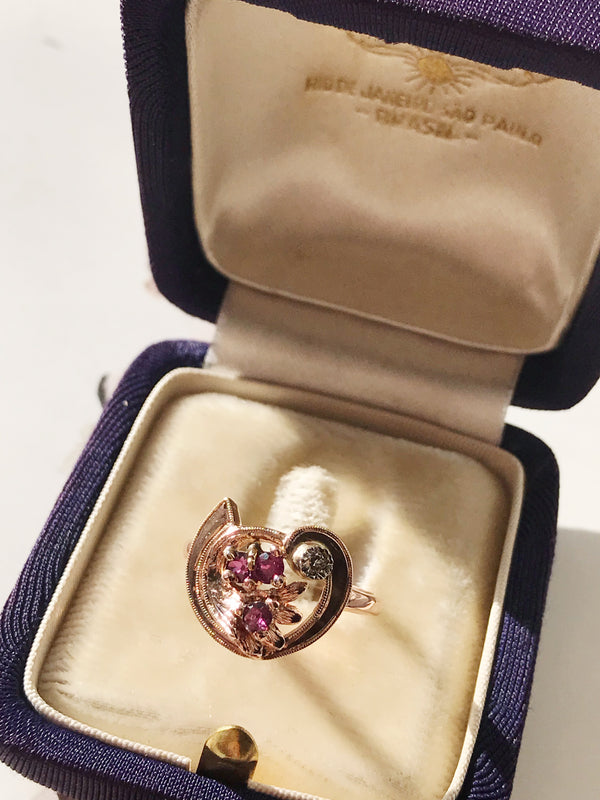 Deco Tourmaline, Rose Gold and Diamond Ring