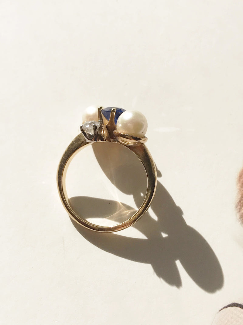Sapphire, Pearl and Diamond Cocktail Ring