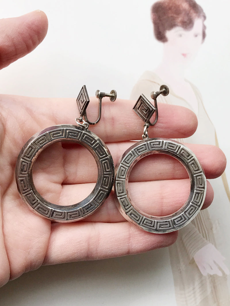 Egyptian Revival Hoop Earrings