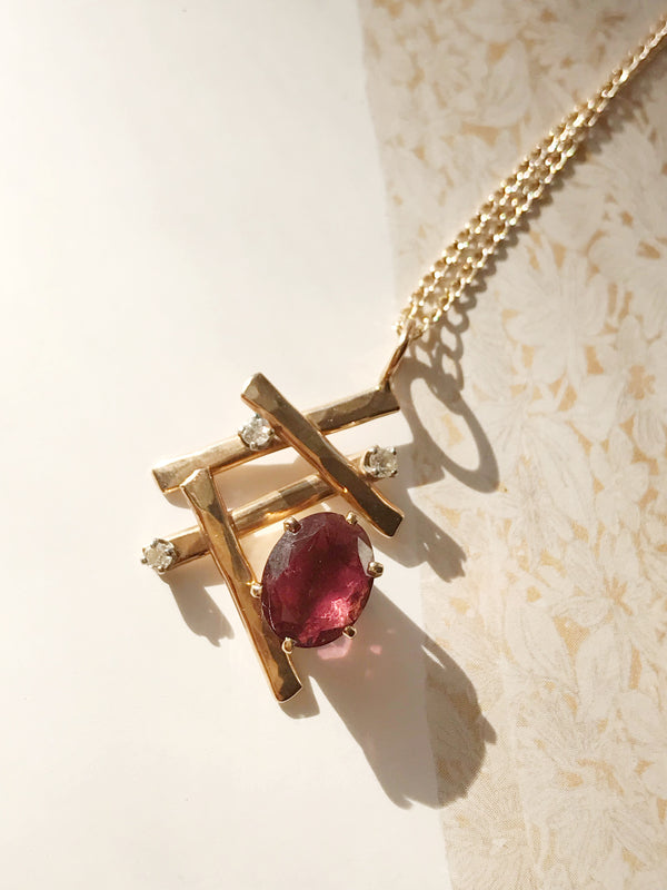 Modernist Tourmaline and Diamond Necklace