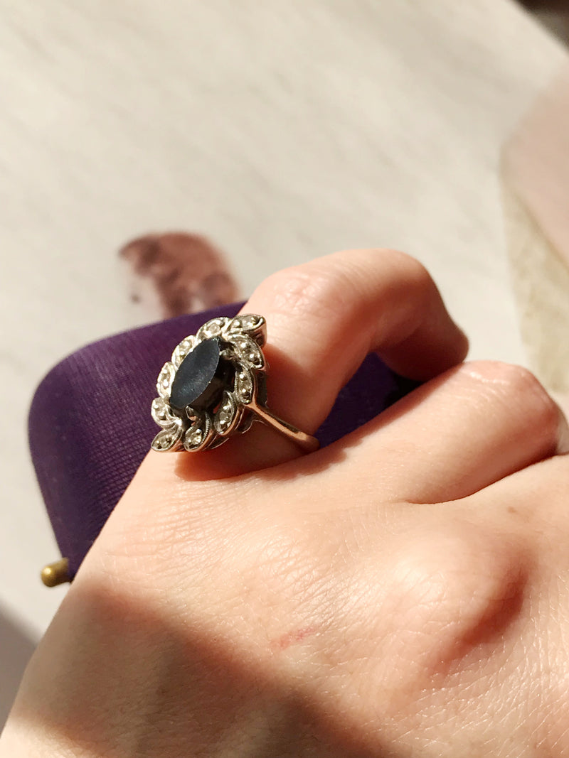 Retro Onyx and Diamond Cocktail Ring