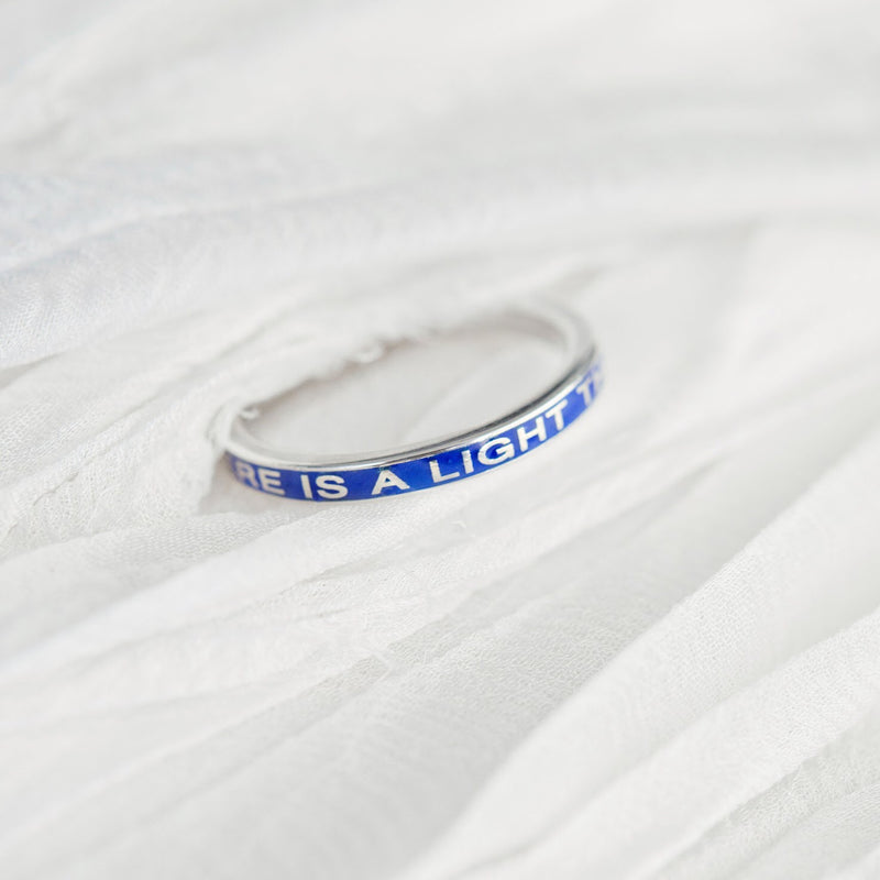 Silver There is a Light that Never Goes Out Remembrance Ring in Custom Color Enamel