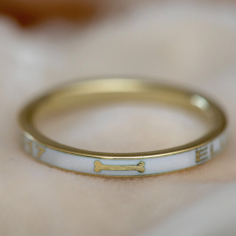gold enamel pet memorial ring | dog memorial ring | modern mourning ring near Philadelphia, PA