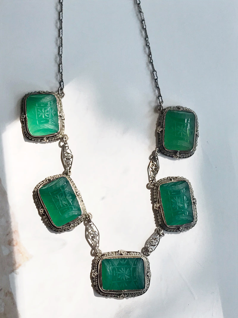 Czech Glass Panel Necklace