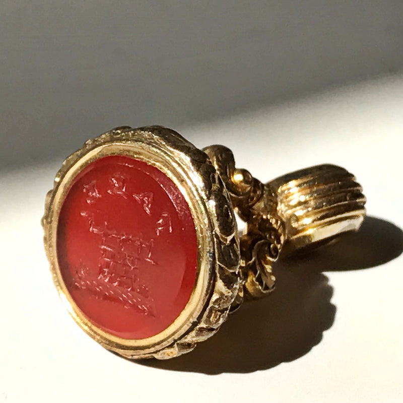 Antique Carnelian Fob with Rebus