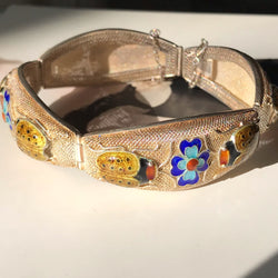 Rare Chinese Export Ladybug and Flower Enamel Bracelet