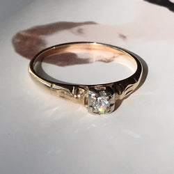 Art Deco Square Small Diamond Engagement Ring