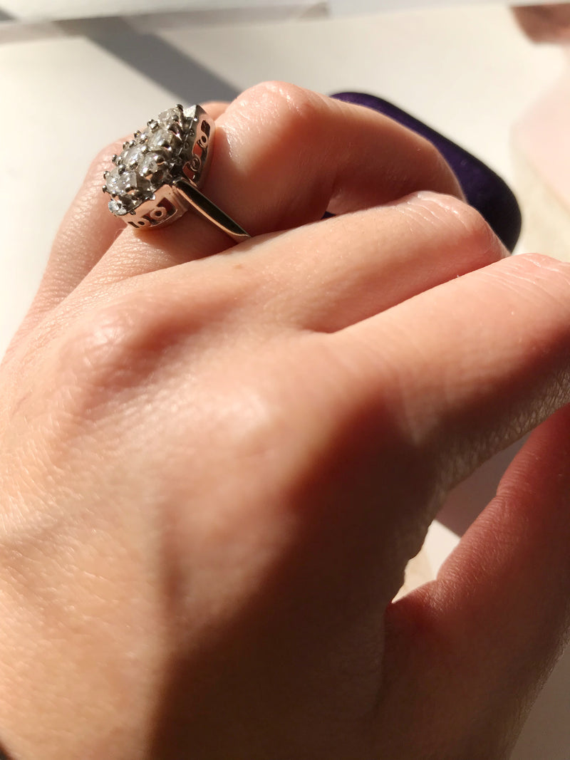 Vintage Diamond Teardrop Ring